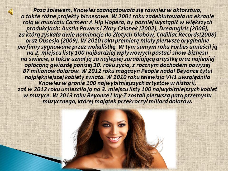 Poza śpiewem, Knowles zaangażowała się również w aktorstwo, a także różne projekty biznesowe. W 2001 roku zadebiutowała na ekranie rolą w musicalu Car
