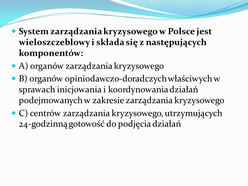 System zarządzania kryzysowego w Polsce jest wieloszczeblowy i składa się z następujących komponentów: A) organów zarządzania kryzysowego B) organów o