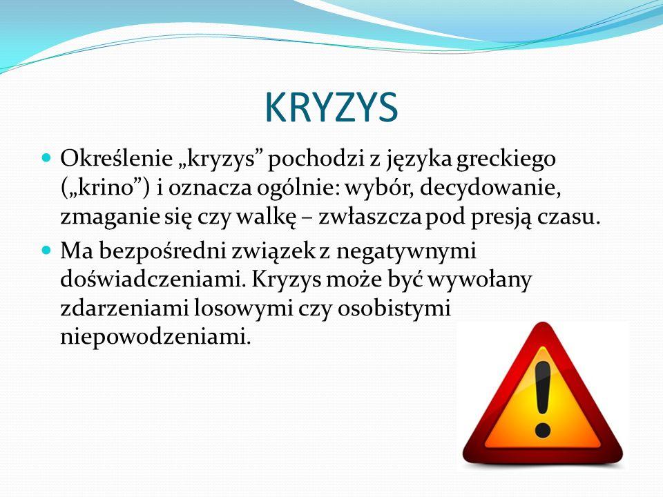 """KRYZYS Określenie """"kryzys"""" pochodzi z języka greckiego (""""krino"""") i oznacza ogólnie: wybór, decydowanie, zmaganie się czy walkę – zwłaszcza pod presją"""