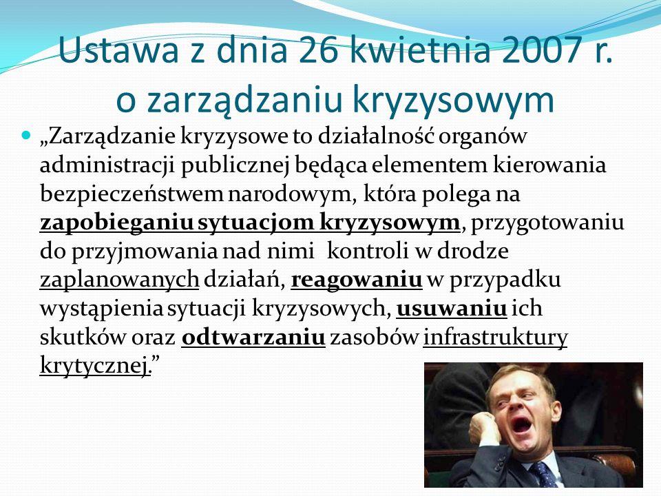 """Ustawa z dnia 26 kwietnia 2007 r. o zarządzaniu kryzysowym """"Zarządzanie kryzysowe to działalność organów administracji publicznej będąca elementem kie"""
