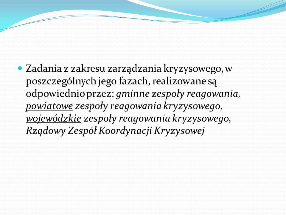 Zadania z zakresu zarządzania kryzysowego, w poszczególnych jego fazach, realizowane są odpowiednio przez: gminne zespoły reagowania, powiatowe zespoł