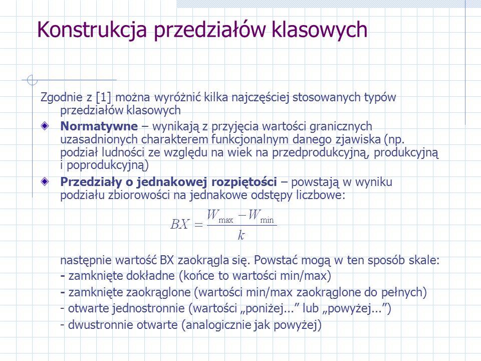 Konstrukcja przedziałów klasowych Zgodnie z [1] można wyróżnić kilka najczęściej stosowanych typów przedziałów klasowych Normatywne – wynikają z przyjęcia wartości granicznych uzasadnionych charakterem funkcjonalnym danego zjawiska (np.