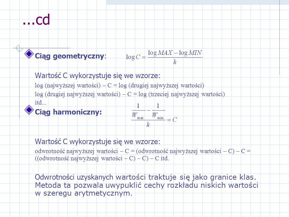 ...cd Ciąg geometryczny: Wartość C wykorzystuje się we wzorze: log (najwyższej wartości) – C = log (drugiej najwyższej wartości) log (drugiej najwyższej wartości) – C = log (trzeciej najwyższej wartości) itd...
