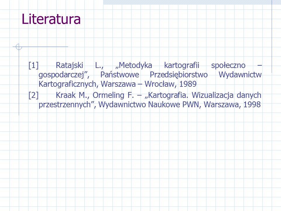 """Literatura [1] Ratajski L., """"Metodyka kartografii społeczno – gospodarczej , Państwowe Przedsiębiorstwo Wydawnictw Kartograficznych, Warszawa – Wrocław, 1989 [2] Kraak M., Ormeling F."""