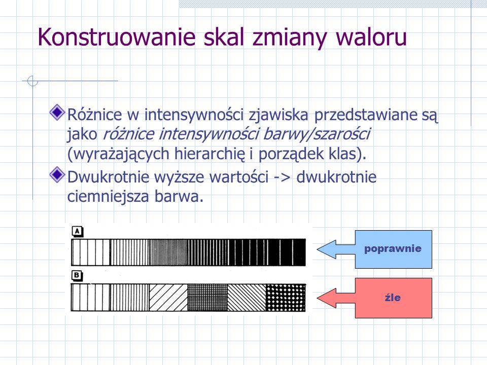 Konstruowanie skal zmiany waloru Różnice w intensywności zjawiska przedstawiane są jako różnice intensywności barwy/szarości (wyrażających hierarchię i porządek klas).
