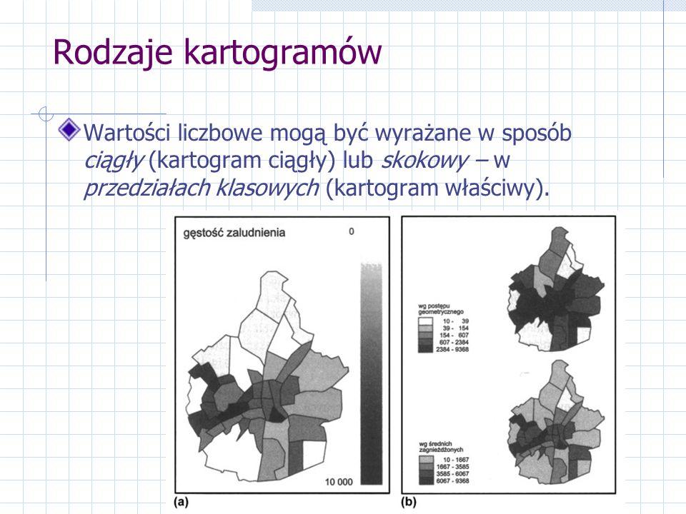 Rodzaje kartogramów Wartości liczbowe mogą być wyrażane w sposób ciągły (kartogram ciągły) lub skokowy – w przedziałach klasowych (kartogram właściwy).