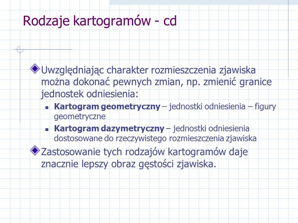Rodzaje kartogramów - cd Uwzględniając charakter rozmieszczenia zjawiska można dokonać pewnych zmian, np.