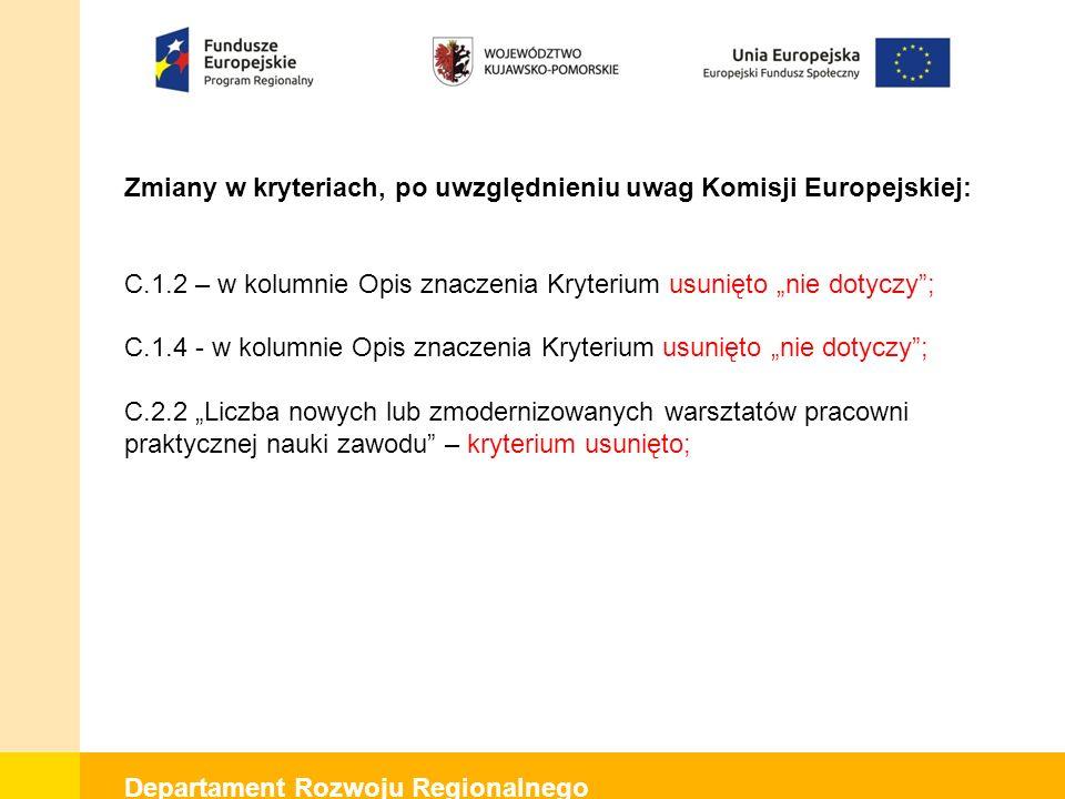 """Departament Rozwoju Regionalnego Zmiany w kryteriach, po uwzględnieniu uwag Komisji Europejskiej: C.1.2 – w kolumnie Opis znaczenia Kryterium usunięto """"nie dotyczy ; C.1.4 - w kolumnie Opis znaczenia Kryterium usunięto """"nie dotyczy ; C.2.2 """"Liczba nowych lub zmodernizowanych warsztatów pracowni praktycznej nauki zawodu – kryterium usunięto;"""