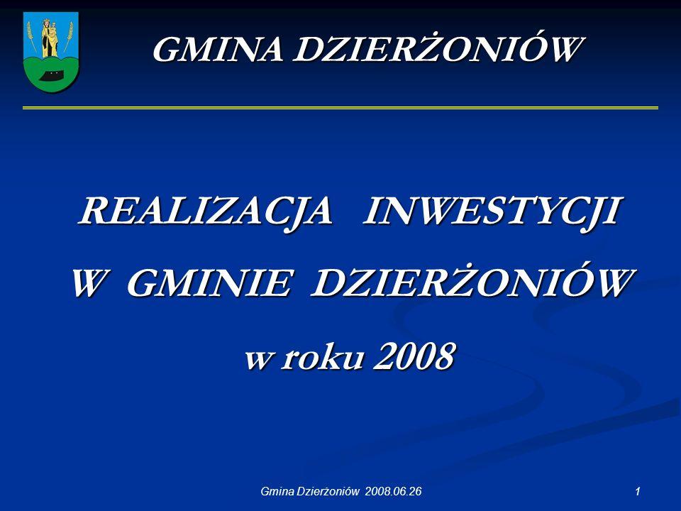 1Gmina Dzierżoniów 2008.06.26 GMINA DZIERŻONIÓW REALIZACJA INWESTYCJI W GMINIE DZIERŻONIÓW w roku 2008