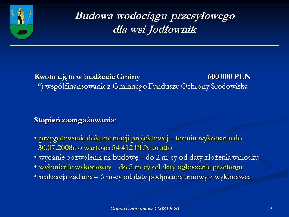 2Gmina Dzierżoniów 2008.06.26 Budowa wodociągu przesyłowego dla wsi Jodłownik Stopień zaangażowania: przygotowanie dokumentacji projektowej – termin wykonania do przygotowanie dokumentacji projektowej – termin wykonania do 30.07.2008r.