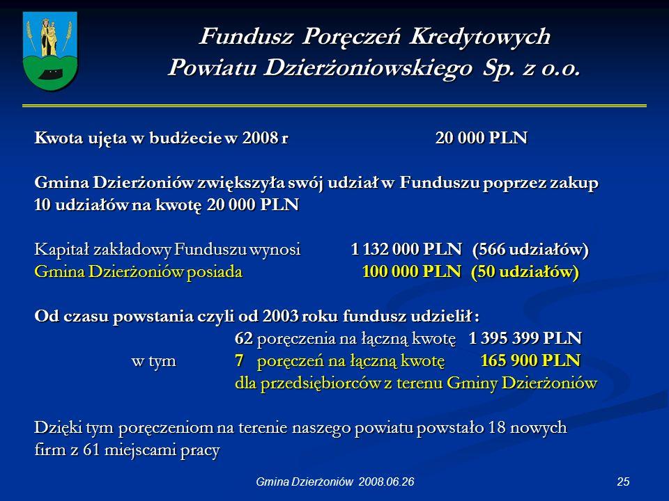 25Gmina Dzierżoniów 2008.06.26 Fundusz Poręczeń Kredytowych Powiatu Dzierżoniowskiego Sp.