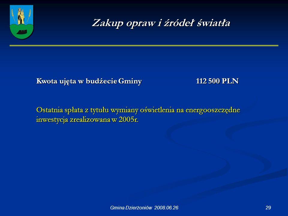 29Gmina Dzierżoniów 2008.06.26 Zakup opraw i źródeł światła Kwota ujęta w budżecie Gminy 112 500 PLN Ostatnia spłata z tytułu wymiany oświetlenia na energooszczędne inwestycja zrealizowana w 2005r.