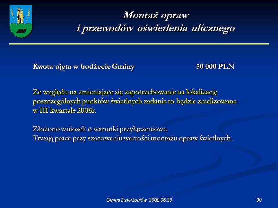 30Gmina Dzierżoniów 2008.06.26 Montaż opraw i przewodów oświetlenia ulicznego Ze względu na zmieniające się zapotrzebowanie na lokalizację poszczególnych punktów świetlnych zadanie to będzie zrealizowane w III kwartale 2008r.