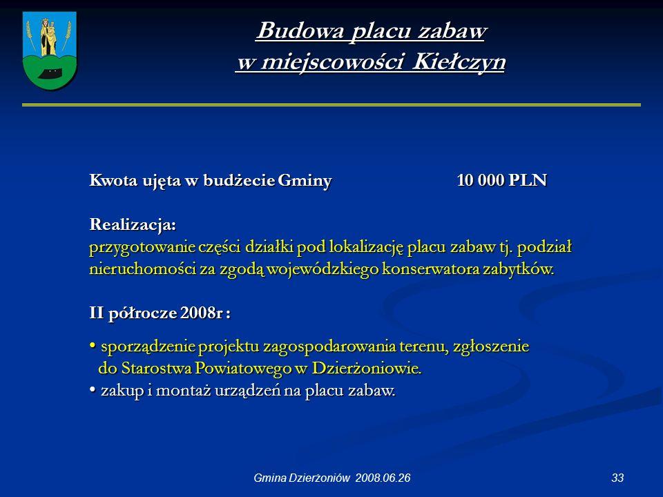 33Gmina Dzierżoniów 2008.06.26 Budowa placu zabaw w miejscowości Kiełczyn Kwota ujęta w budżecie Gminy 10 000 PLN Realizacja: przygotowanie części działki pod lokalizację placu zabaw tj.