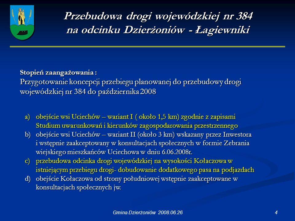 35Gmina Dzierżoniów 2008.06.26 Modernizacja i rozbudowa gospodarki wodno-ściekowej na terenie gmin powiatu dzierżoniowskiego Kwota ujęta w budżecie Gminy 50 000 PLN Instytucja realizująca : Wodociągi i Kanalizacja Sp.