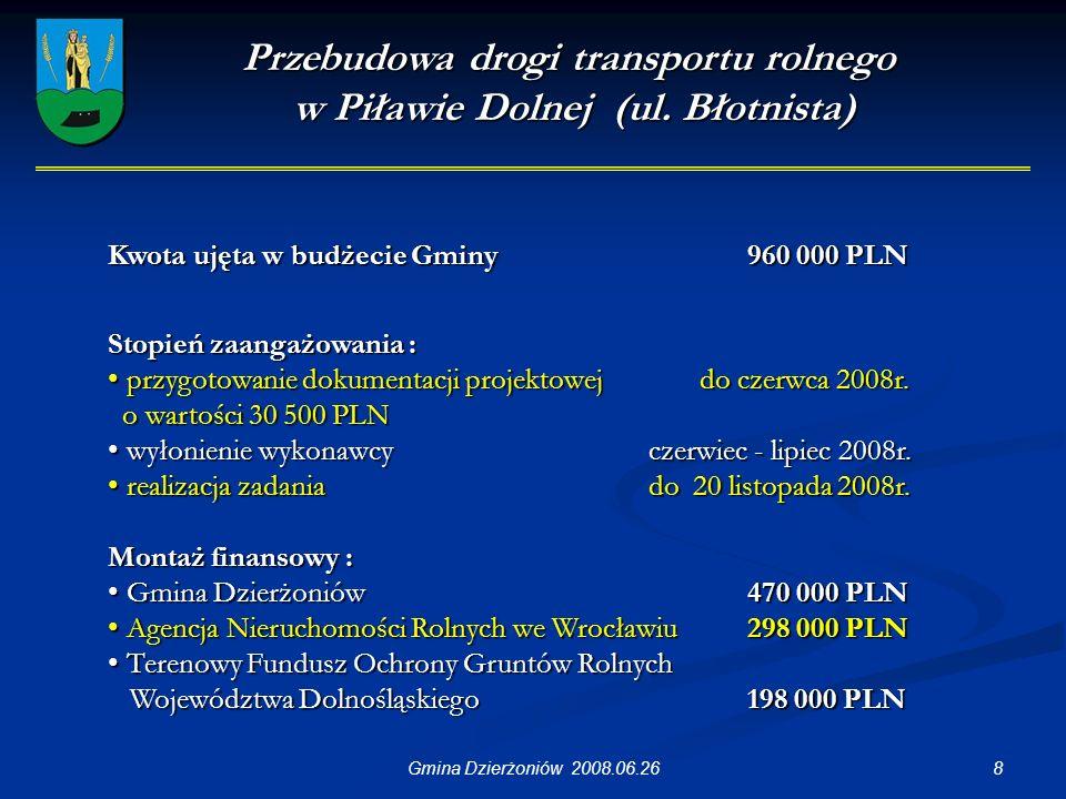 19Gmina Dzierżoniów 2008.06.26 Przebudowa sali wiejskiej w Piławie Dolnej przy ul.
