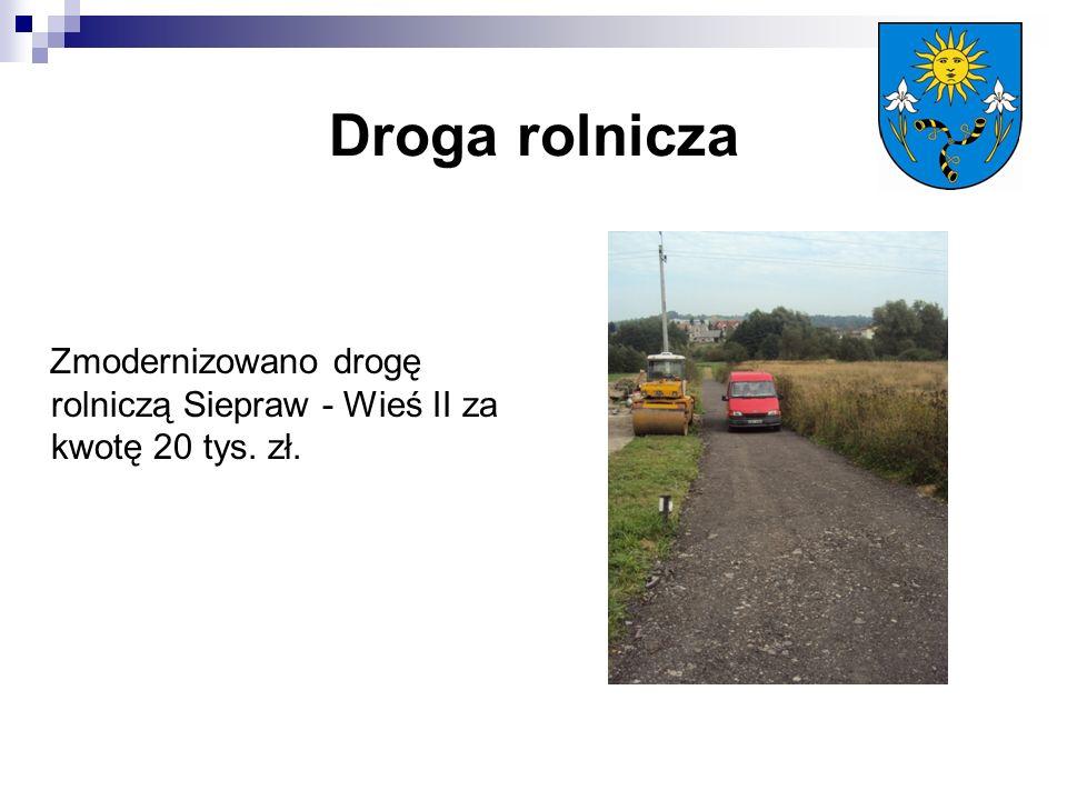 Droga rolnicza Zmodernizowano drogę rolniczą Siepraw - Wieś II za kwotę 20 tys. zł.