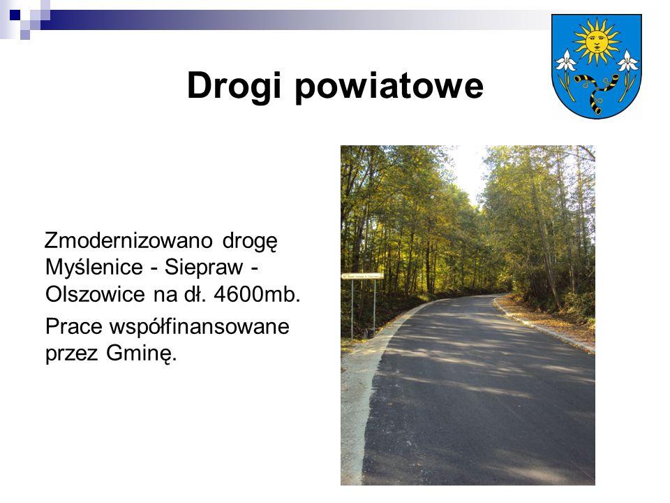 Drogi powiatowe Zmodernizowano drogę Myślenice - Siepraw - Olszowice na dł.