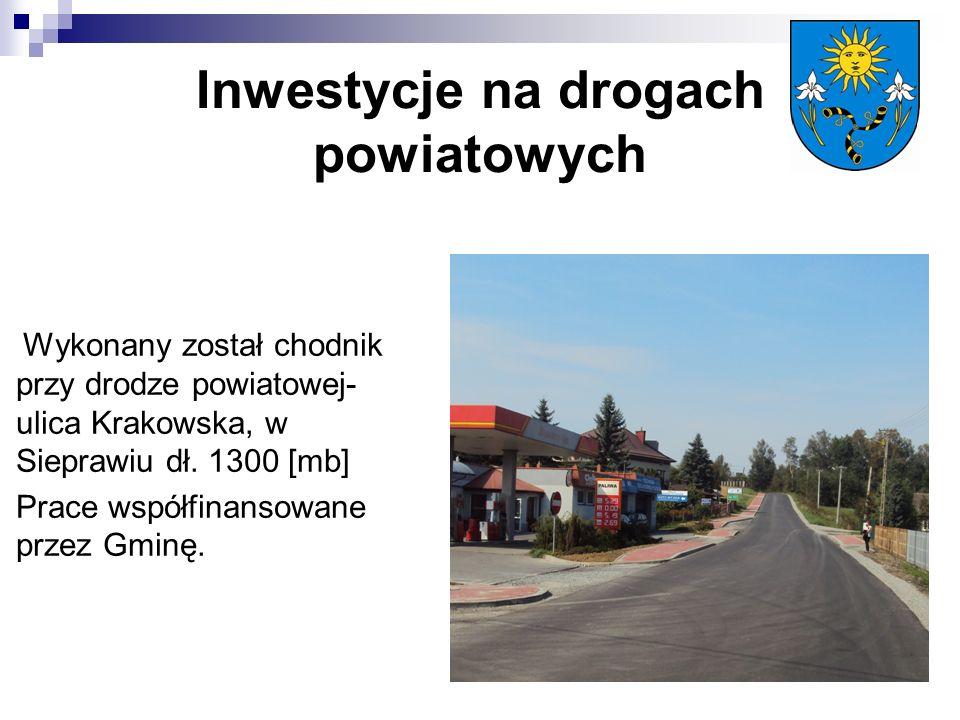 Inwestycje na drogach powiatowych Wykonany został chodnik przy drodze powiatowej- ulica Krakowska, w Sieprawiu dł.