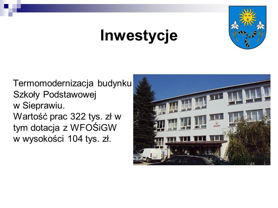 Inwestycje Termomodernizacja budynku Szkoły Podstawowej w Sieprawiu.
