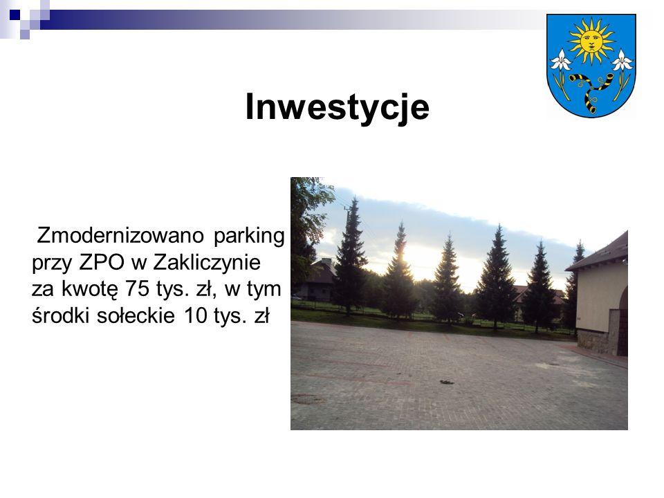 Zmodernizowano parking przy ZPO w Zakliczynie za kwotę 75 tys. zł, w tym środki sołeckie 10 tys. zł