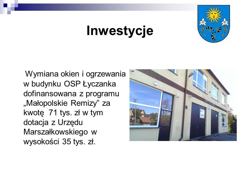 """Inwestycje Wymiana okien i ogrzewania w budynku OSP Łyczanka dofinansowana z programu """"Małopolskie Remizy za kwotę 71 tys."""