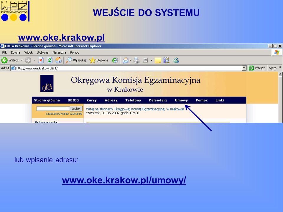 WEJŚCIE DO SYSTEMU www.oke.krakow.pl/umowy/ www.oke.krakow.pl lub wpisanie adresu:
