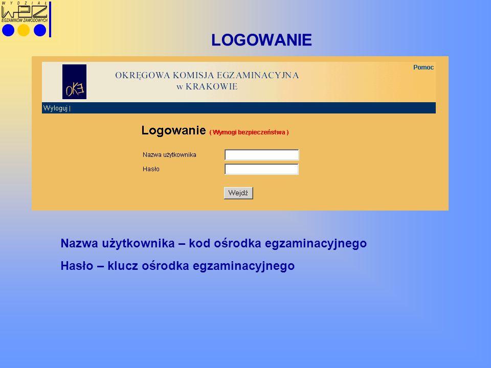 LOGOWANIE Nazwa użytkownika – kod ośrodka egzaminacyjnego Hasło – klucz ośrodka egzaminacyjnego