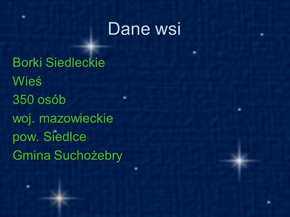 Dane wsi Borki Siedleckie Wieś 350 osób woj. mazowieckie pow. Siedlce Gmina Suchożebry