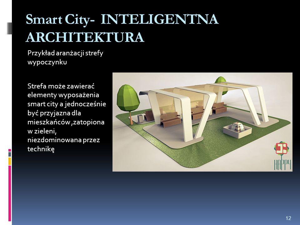 Smart City- INTELIGENTNA ARCHITEKTURA Przykład aranżacji strefy wypoczynku Strefa może zawierać elementy wyposażenia smart city a jednocześnie być przyjazna dla mieszkańców,zatopiona w zieleni, niezdominowana przez technikę 12