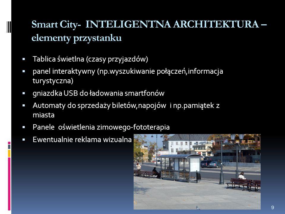 Smart City- INTELIGENTNA ARCHITEKTURA – elementy przystanku 9  Tablica świetlna (czasy przyjazdów)  panel interaktywny (np.wyszukiwanie połączeń,informacja turystyczna)  gniazdka USB do ładowania smartfonów  Automaty do sprzedaży biletów,napojów i np.pamiątek z miasta  Panele oświetlenia zimowego-fototerapia  Ewentualnie reklama wizualna