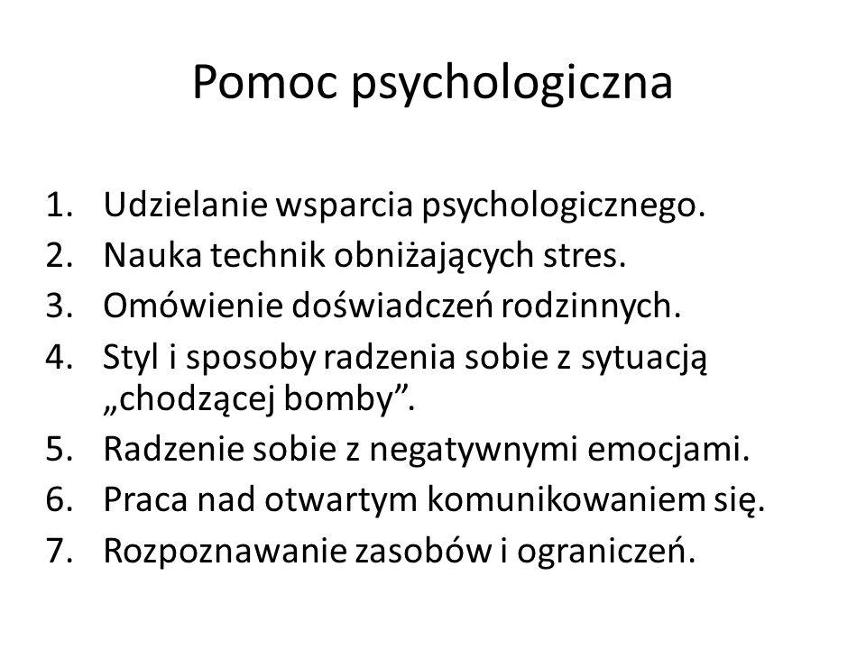 Pomoc psychologiczna 1.Udzielanie wsparcia psychologicznego.