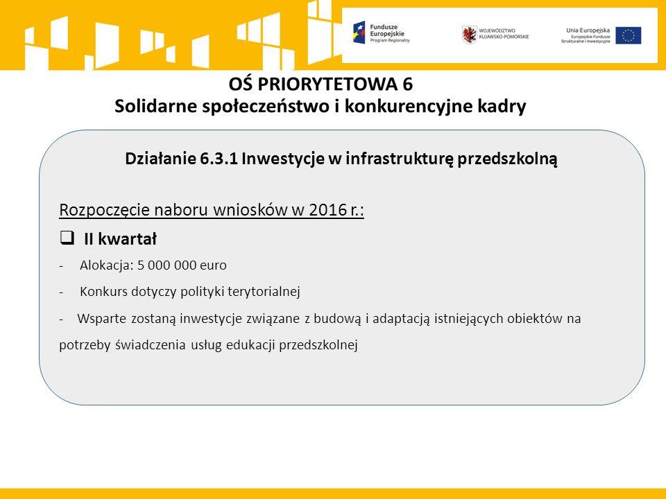 Działanie 6.3.1 Inwestycje w infrastrukturę przedszkolną Rozpoczęcie naboru wniosków w 2016 r.:  II kwartał -Alokacja: 5 000 000 euro -Konkurs dotyczy polityki terytorialnej - Wsparte zostaną inwestycje związane z budową i adaptacją istniejących obiektów na potrzeby świadczenia usług edukacji przedszkolnej