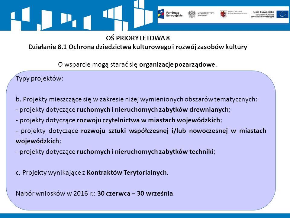 OŚ PRIORYTETOWA 8 Działanie 8.1 Ochrona dziedzictwa kulturowego i rozwój zasobów kultury O wsparcie mogą starać się organizacje pozarządowe.