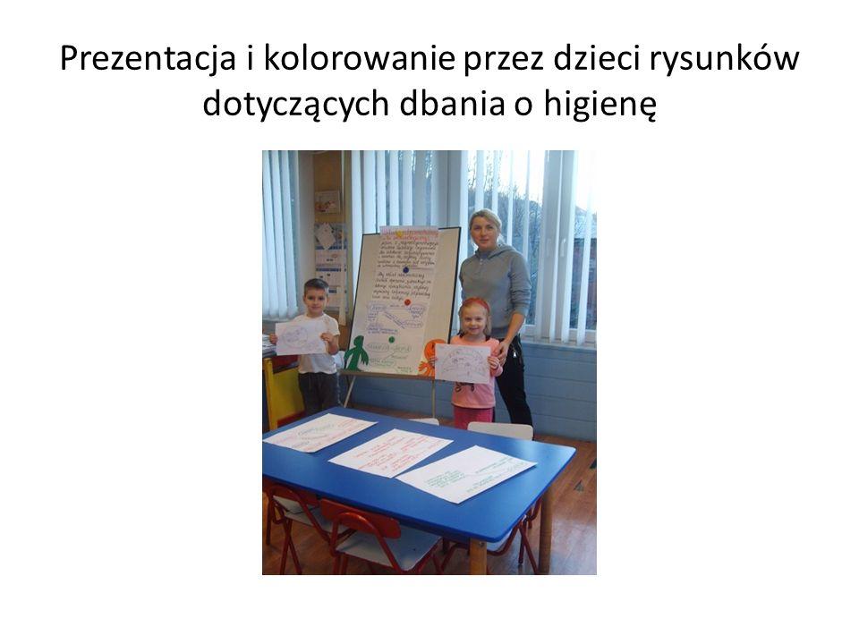 Prezentacja i kolorowanie przez dzieci rysunków dotyczących dbania o higienę