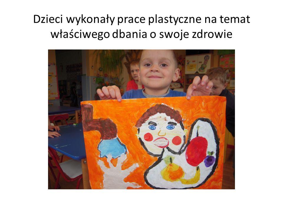 Dzieci wykonały prace plastyczne na temat właściwego dbania o swoje zdrowie