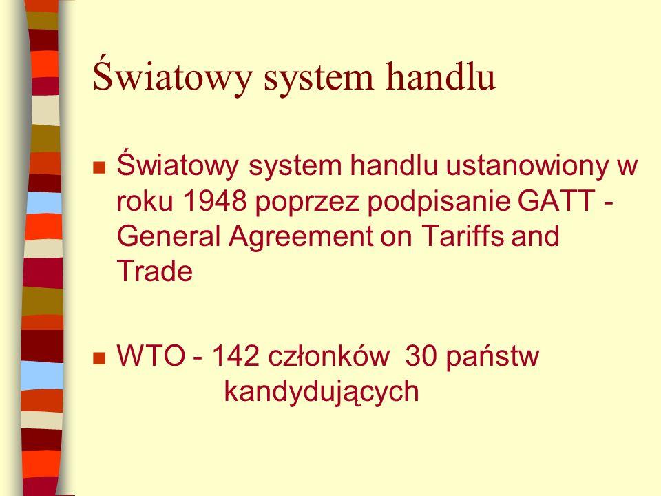 Światowy system handlu n Światowy system handlu ustanowiony w roku 1948 poprzez podpisanie GATT - General Agreement on Tariffs and Trade n WTO - 142 członków 30 państw kandydujących