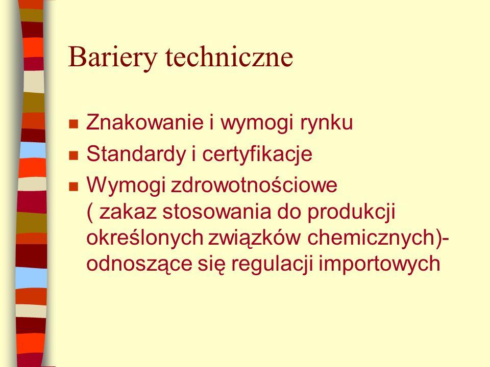 Bariery techniczne n Znakowanie i wymogi rynku n Standardy i certyfikacje n Wymogi zdrowotnościowe ( zakaz stosowania do produkcji określonych związków chemicznych)- odnoszące się regulacji importowych