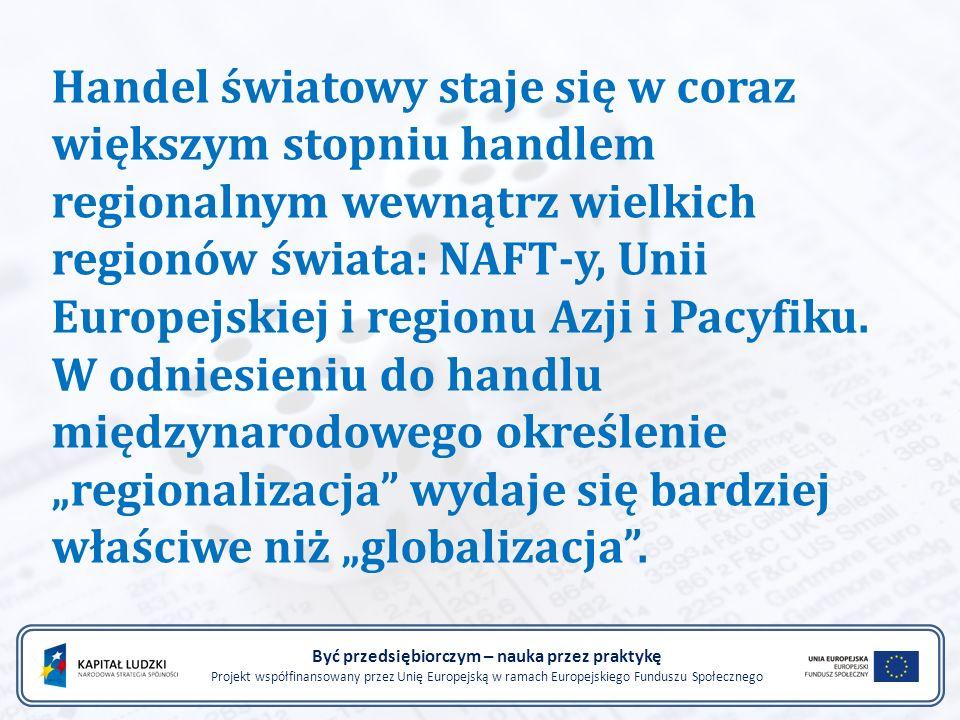 Handel światowy staje się w coraz większym stopniu handlem regionalnym wewnątrz wielkich regionów świata: NAFT-y, Unii Europejskiej i regionu Azji i P