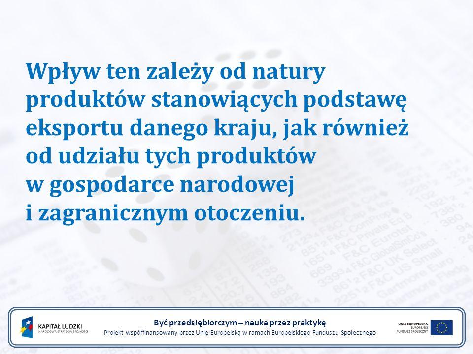 Wpływ ten zależy od natury produktów stanowiących podstawę eksportu danego kraju, jak również od udziału tych produktów w gospodarce narodowej i zagra