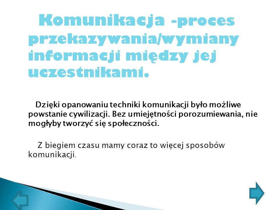 Komunikacja -proces przekazywania/wymiany informacji między jej uczestnikami.