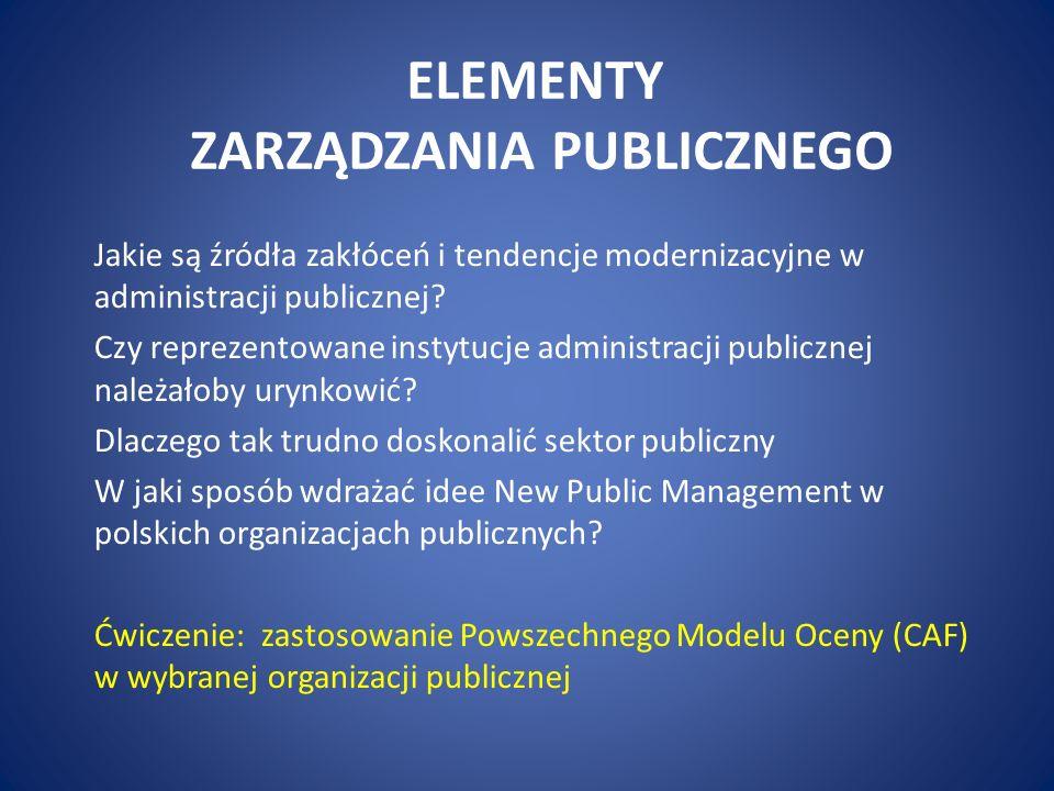 ELEMENTY ZARZĄDZANIA PUBLICZNEGO Jakie są źródła zakłóceń i tendencje modernizacyjne w administracji publicznej? Czy reprezentowane instytucje adminis
