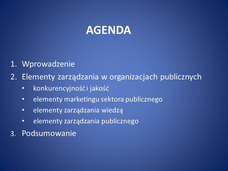 AGENDA 1.Wprowadzenie 2.Elementy zarządzania w organizacjach publicznych konkurencyjność i jakość elementy marketingu sektora publicznego elementy zarządzania wiedzą elementy zarządzania publicznego 3.