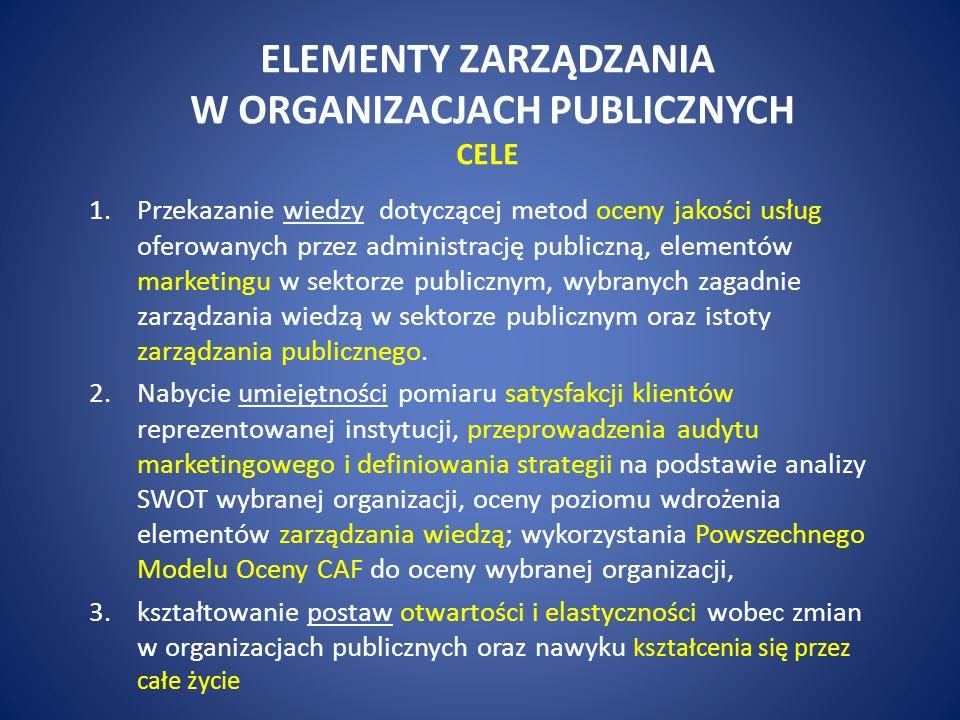 ELEMENTY ZARZĄDZANIA W ORGANIZACJACH PUBLICZNYCH CELE 1.Przekazanie wiedzy dotyczącej metod oceny jakości usług oferowanych przez administrację publiczną, elementów marketingu w sektorze publicznym, wybranych zagadnie zarządzania wiedzą w sektorze publicznym oraz istoty zarządzania publicznego.