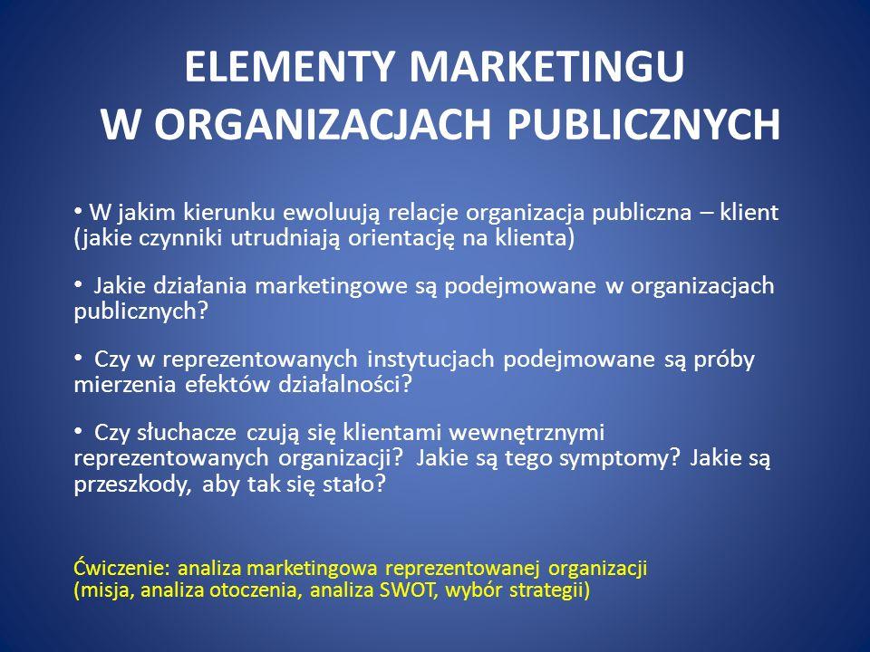 ELEMENTY MARKETINGU W ORGANIZACJACH PUBLICZNYCH W jakim kierunku ewoluują relacje organizacja publiczna – klient (jakie czynniki utrudniają orientację na klienta) Jakie działania marketingowe są podejmowane w organizacjach publicznych.