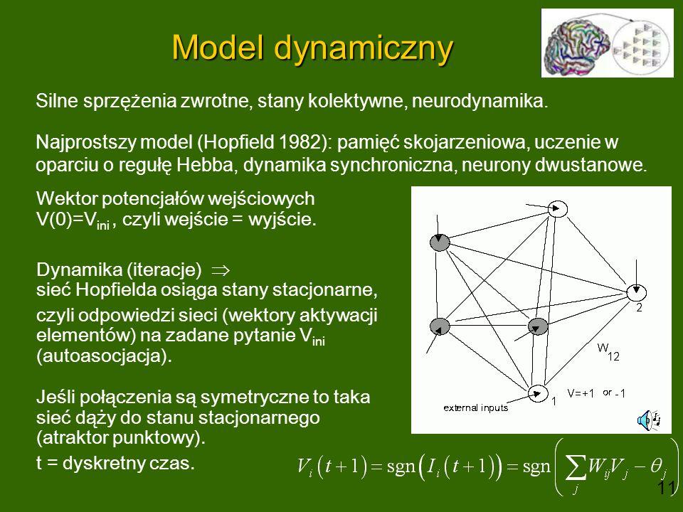 Model dynamiczny Silne sprzężenia zwrotne, stany kolektywne, neurodynamika. Najprostszy model (Hopfield 1982): pamięć skojarzeniowa, uczenie w oparciu