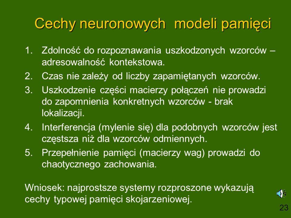 Cechy neuronowych modeli pamięci 1.Zdolność do rozpoznawania uszkodzonych wzorców – adresowalność kontekstowa.