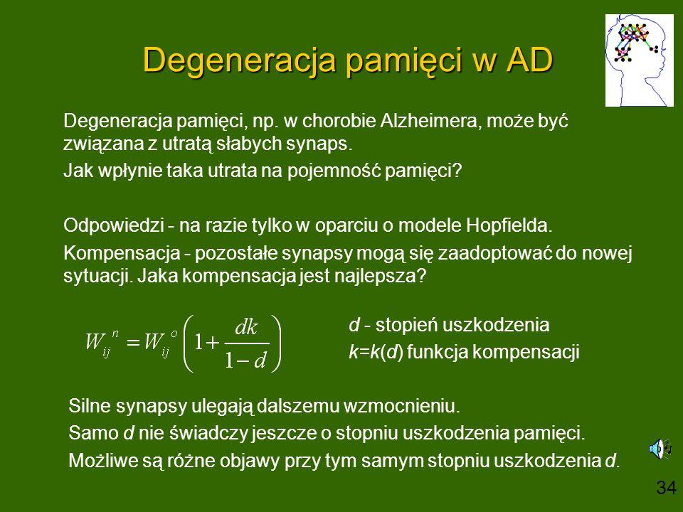 Degeneracja pamięci w AD Degeneracja pamięci, np. w chorobie Alzheimera, może być związana z utratą słabych synaps. Jak wpłynie taka utrata na pojemno