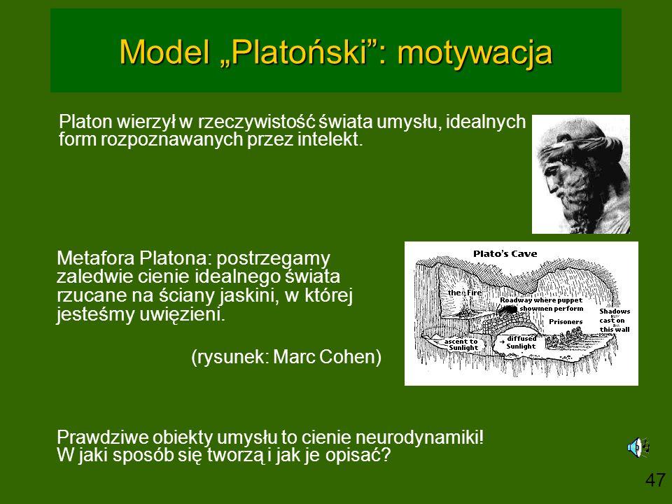 """Model """"Platoński"""": motywacja Platon wierzył w rzeczywistość świata umysłu, idealnych form rozpoznawanych przez intelekt. Metafora Platona: postrzegamy"""