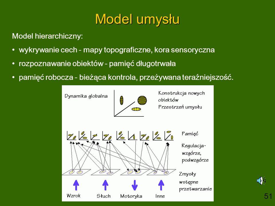 Model umysłu Model hierarchiczny: wykrywanie cech - mapy topograficzne, kora sensoryczna rozpoznawanie obiektów - pamięć długotrwała pamięć robocza - bieżąca kontrola, przeżywana teraźniejszość.
